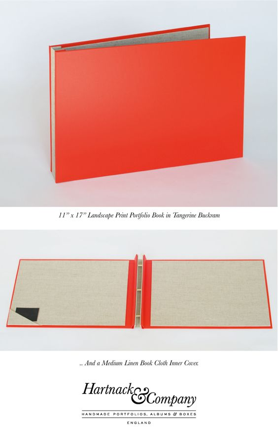 11x17 custom graphic design portfolio book in a durable Tangerine - resume portfolio folder