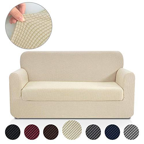 Black Stretch Couch Sofa Love seat Slip Cover New 2 Piece