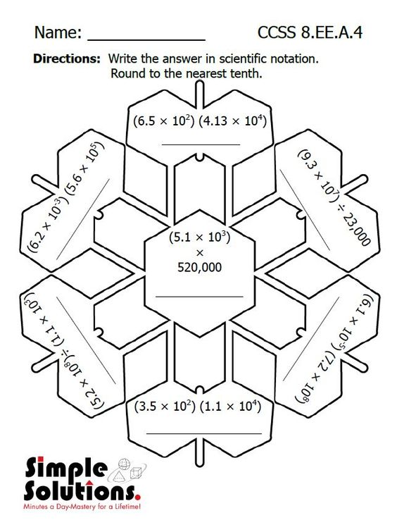 Printables Free Math Worksheets For 8th Grade scientific notation math and snow on pinterest eighth grade worksheet free download ccss http