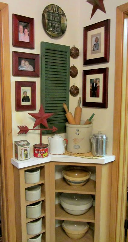 decorating with red wing crocks | handy little corner for decorating. I hope you like the changes!