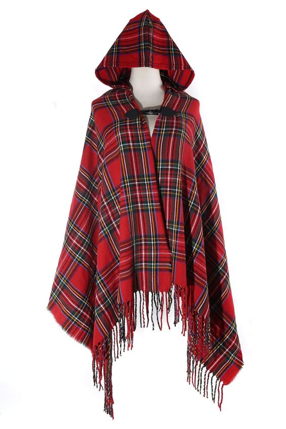 Red Tartan Plaid Wool Hooded Cardigan -- Maybe handmade out of Livingston tartan with hand-made, leather clasp?