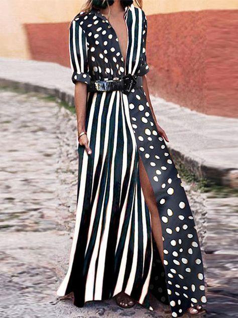 Vestido maxi a rayas con cuello en V de moda - WIKI
