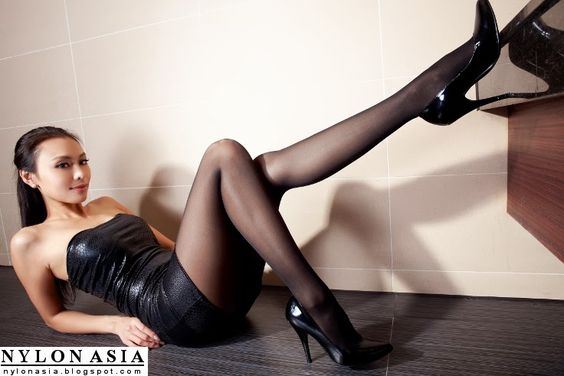 Asian Girl Sexy Long Legs Leather Dress
