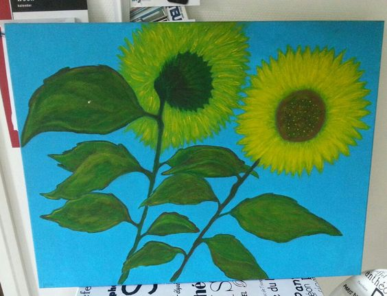 Acryl zonnebloemen....Eigen werk