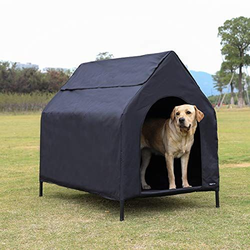 Amazonbasics Elevated Portable Pet House Arezona Family In 2020 Dog Houses Pets Cool Dog Houses