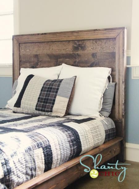 The hailey planked diy headboard from shanty2chic has a for Masculine headboards