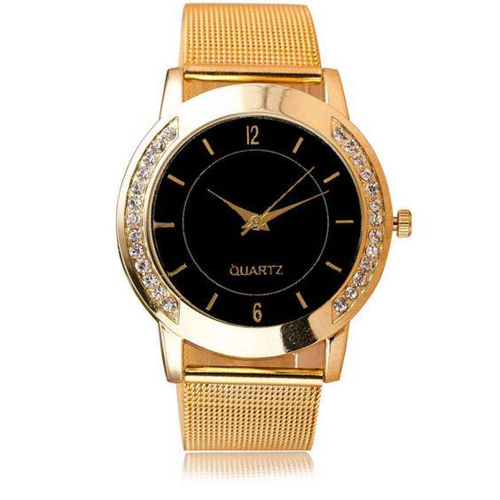 Armbanduhr Damenuhr gold schwarz Strass Analog Damen Mädchen Metallarmband Uhr