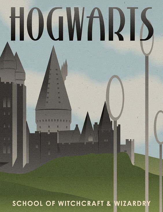vintage art deco hogwarts travel poster harry potter pinterest vintage art hogwarts and. Black Bedroom Furniture Sets. Home Design Ideas
