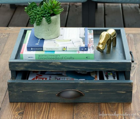 Coffee table tray with drawer lowes creative idea for Diy coffee table with drawers