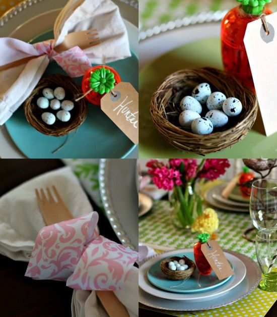 A bright and cheery Easter tablescape with lots of pattern and color!