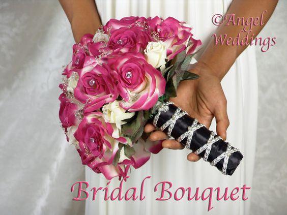 BEAUTIFUL SHANTI Fuschia Cream Complete Bridal Bouquet Package Wedding silk flowers bridesmaid bouquets groom groomsmen boutonniere corsage