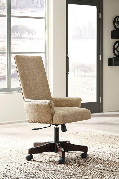 Baldridge Light Brown Upholstered Swivel Desk Chair Home Office