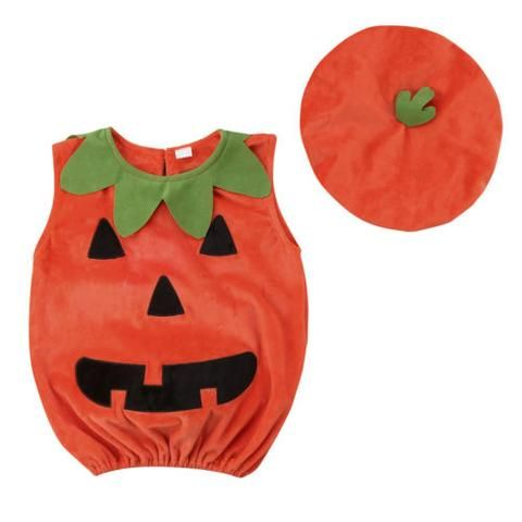 Toddler Infant Baby Boy Girl Halloween Pumpkin Costumes Sleeveless Romper Outfit with Hat