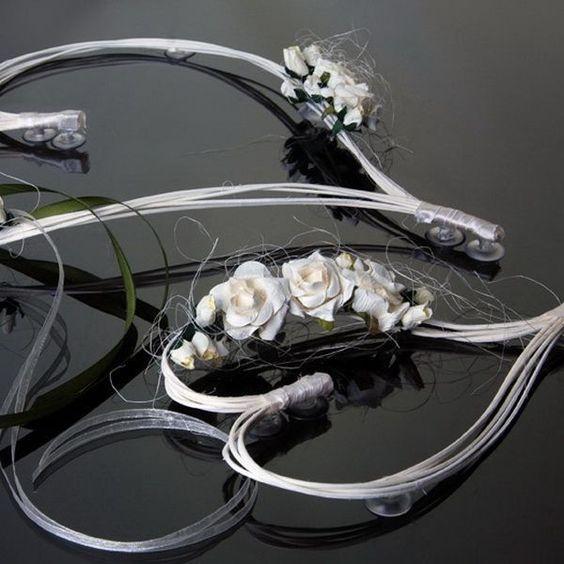 coeur en rotin avec fleur ecru pour dcoration de voiture de mariage x 2 pices - Cout Fleuriste Mariage