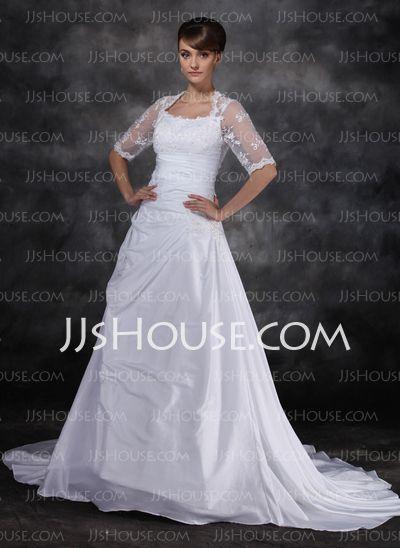 ... Hof-Schleppe Taft Tüll Brautkleid mit Rüschen Spitzen (002017121