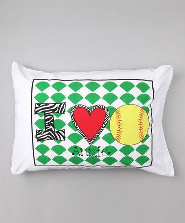 Another great find on #zulily! 'I Love Softball' Personalized Standard Pillowcase #zulilyfinds