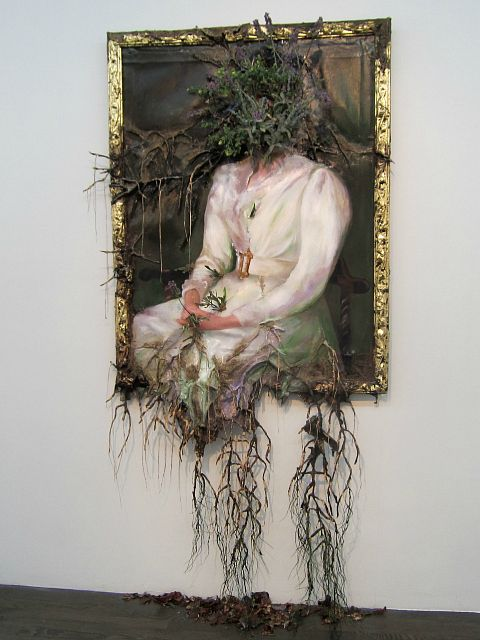 "Valerie Hegarty, ""Woman in White with Flowers"" (2012), canvas, stretcher, acrylic paint, paper, glue, foil, foam, wire, artificial foliage and flowers, sand, thread"