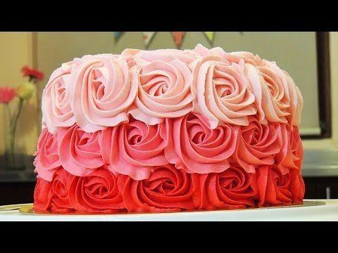 PASTEL DE ROSAS CON BETÚN DE MANTEQUILLA (Ombre Rose Cake Tutorial) - YouTube