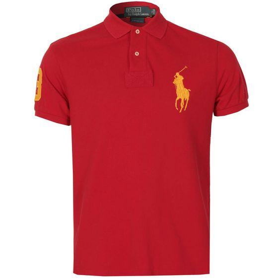 Mens Ralph Lauren Mens Custom Fit Big Pony Mesh Polo Shirt in Red - S