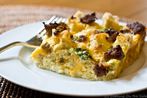 Sausage Breakfast Casserole (get the recipe on www.cookingontheside.com)