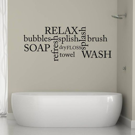 Bathroom Word Cloud Wall Sticker by Mirrorin on HeartThis