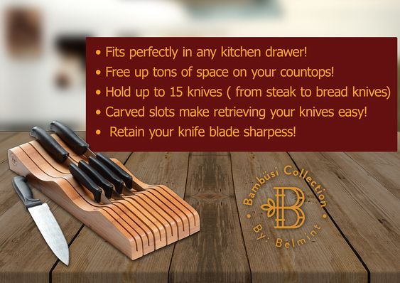 Bamboo In Drawer Knife Organizer Kitchen Knife Block Without Knives Wooden Steak Knives Holder Cutlery Block 100 Natur Knife Organization Knife Steak Knives