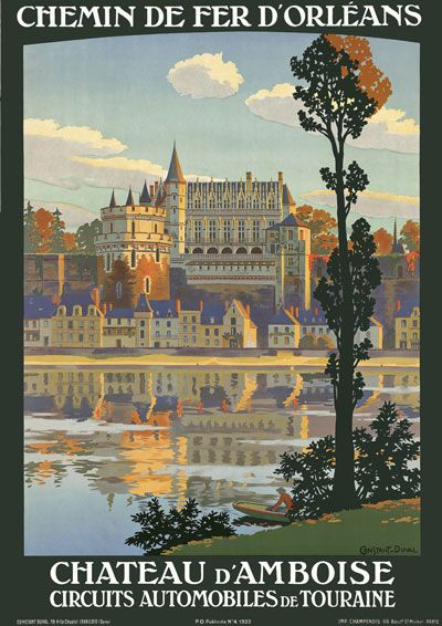 Vintage 1920's Chateau d'Amboise France French Travel Poster