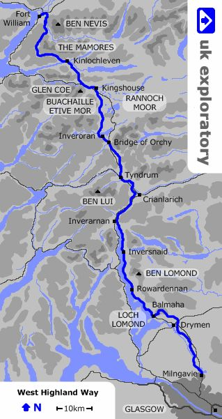 The West Highland Way is a walking trail running for 152km through the Southern and Western Highlands of Scotland, from Glasgow to Fort William.