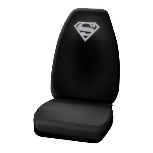 Superman Silver Logo High Back Seat Cover Back Seat Covers Silver Logo Seat Cover