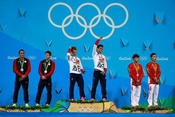Silver medalists Sam Dorman and Mike Hixon of the United States, Gold medalists Jack Laugher and Chris Mears of Great Britain and bronze medalists Yuan Cao and Kai Qin of China pose on the podium during the medal ceremony for the Men's Diving Synchronised 3m Springboard Final on Day 5 of the Rio 2016 Olympic Games at Maria Lenk Aquatics Centre on August 10, 2016 in Rio de Janeiro, Brazil.
