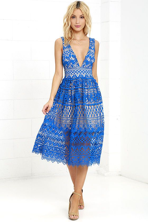 Absolutely Fabulous Beige and Blue Lace Midi Dress - Lace dress ...