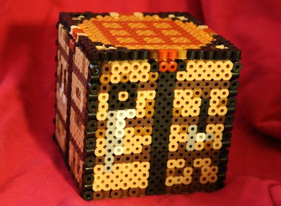 Minecraft Crafting Table with Removable Lid hama perler beads by BraveDeity