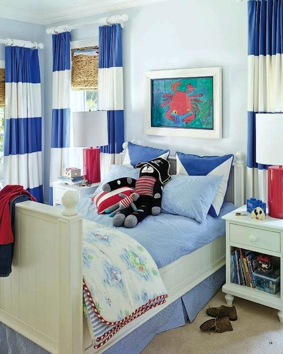 blue white striped draperies in coastal kids room: