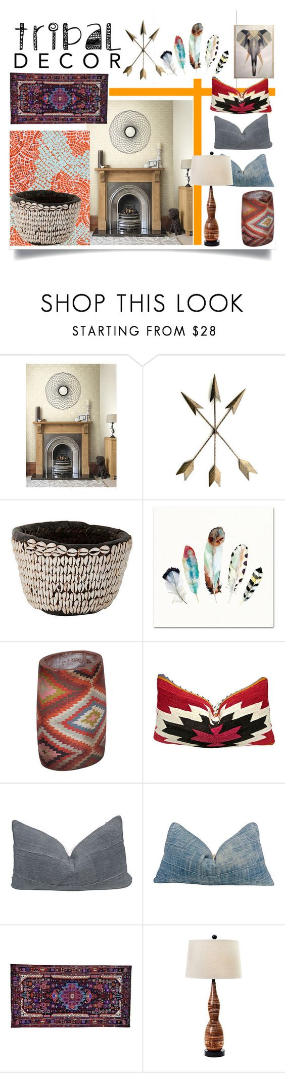 """""""Tribal Decor"""" by jeneric2015 ❤ liked on Polyvore featuring interior, interiors, interior design, home, home decor, interior decorating, York Wallcoverings, Universal Lighting and Decor and tribaldecor"""