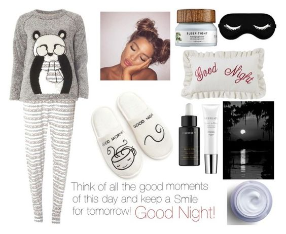 """""""Shhhhhhh...Time to dream...Good Night!"""" by elizabetta-i ❤ liked on Polyvore featuring Dorothy Perkins, New Directions, HiEnd Accents, Korres, Guerlain and Olay"""