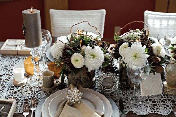 rustic winter tablescape by Naturally Chic