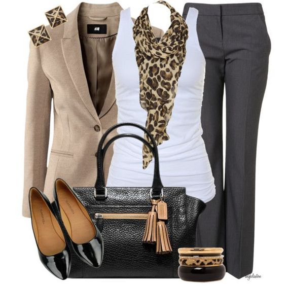 Perfect Work Wear- Tan Blazer, White Tank, Leopard Scarf, Black Dress Pants, Black Patent Heels, Black Purse Finished Off With Black, Leopard And Gold Bangles With Leopard Earrings.. ??: