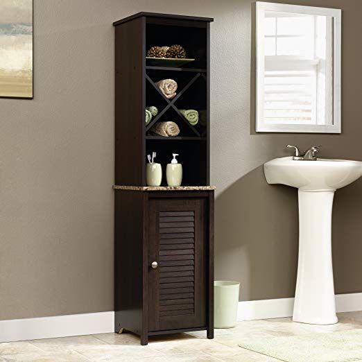 Amazon Com Sauder Linen Tower Bath Cabinet Soft White Finish Kitchen Dining Bathroom Tall Cabinet Bathroom Storage Tower Black Bathroom Storage