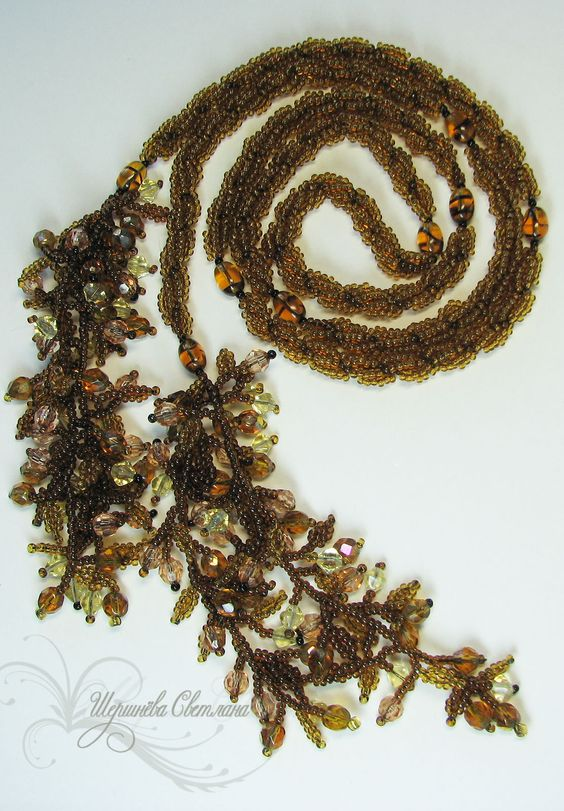 "Лариат ""Уснувший лес"" | biser.info - всё о бисере и бисерном творчестве"