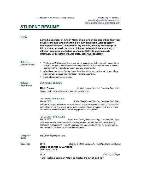 Resume Templates Student resume templates students