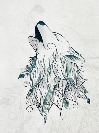 drawings a wolf design...