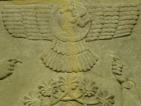 Ancient sumerian artifact of winged flying machine showing a figure inside--this seems to illustrate the concept of a human; or an alien in flight, during ancient times. Notice the hands pointing to this winged object.- Google Search