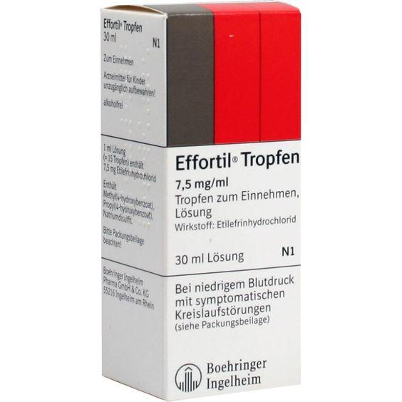 EFFORTIL Tropfen bei niedrigem Blutdruck:   Packungsinhalt: 30 ml Lösung PZN: 03194803 Hersteller: Boehringer Ingelheim Pharma GmbH &…