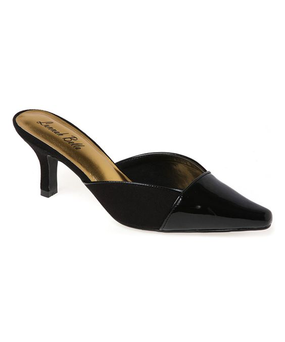 Platinum Black Cap-Toe Wide-Width Kitten Heel | Kitten heels