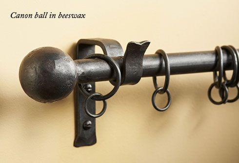 Wrought Iron Cannon Ball Finial Finished In Beeswax Curtain Pole
