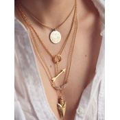Cheap Fashion Arrow Shaped Multi-layered Gold Metal Necklace