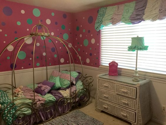 Sasha's new bedroom. Fun vinyl stickers tied all colors together. No sew valance made from duvet