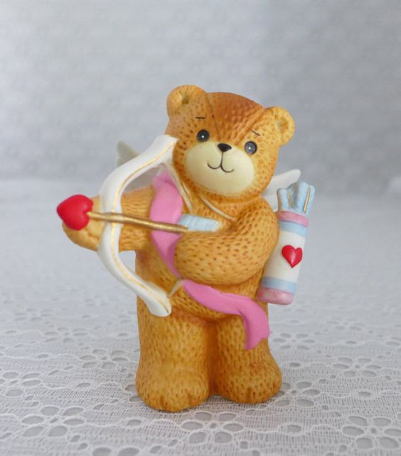 Lucy And Me Bear Figurine Enesco Cupid By RaindropVintageShop, $7.95