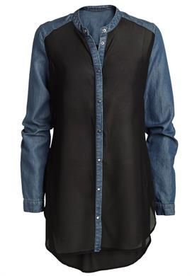 Plus Size Denim trim shirt... too long to be flattering (and I'm over 6 feet tall). Too short to pass as a dress.