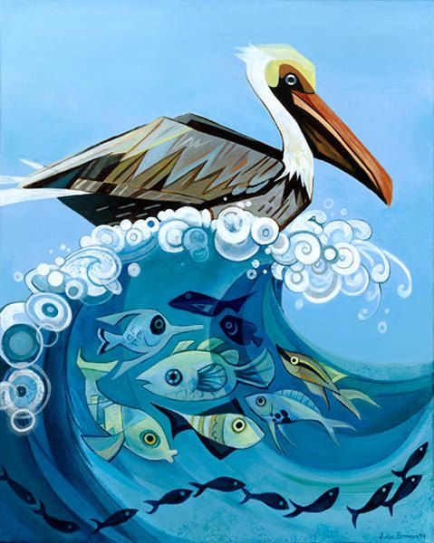 Pelican original acrylic painting by JuliaBermanPaintings on Etsy